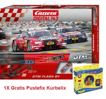 Carrera Digital 143 DTM Flash BY + 1x Gratis Pustefix Kurbelix