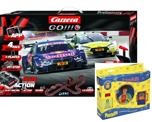 Carrera GO!!!+ Plus DTM Splash ´n dash Set  66005 + 1x Gratis Pustefix Kurbelix